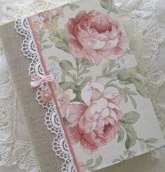 Journal Vintage Roses Upcycled Paper Beaded Cover by Daisyblu Shabby Chic Karten, Shabby Chic Cards, Altered Composition Books, Fabric Book Covers, Diy And Crafts, Paper Crafts, Diy Paper, Fabric Journals, Journal Paper