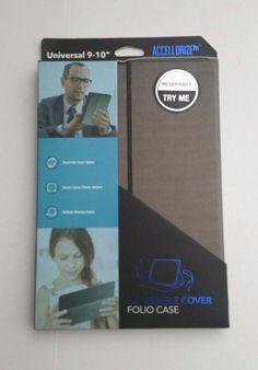 Accellorize Universal Reversible Cover Folio 9-10  Protective Case Silver/Black