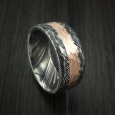 Kuro Damascus Steel Ring and 14k Rose Gold Wedding Band Hammered Genuine Craftsmanship Custom Made