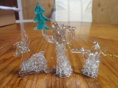 Clear Spun Glass Christmas Tree Ornaments angels & a Deer. Candy Cane Christmas Tree, Glass Christmas Tree Ornaments, Glass Candy, Clear Glass, Deer, Angels, Angel, Reindeer, Angelfish