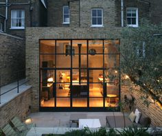 Interiors, Exterior Of A Brick London House With Black Window Frames — Beautiful Designs Framed By Black Window Trims Contemporary Stairs, Contemporary Building, Contemporary Apartment, Contemporary Wallpaper, Contemporary Garden, Contemporary Architecture, Contemporary Interior, Kitchen Contemporary, Contemporary Chandelier
