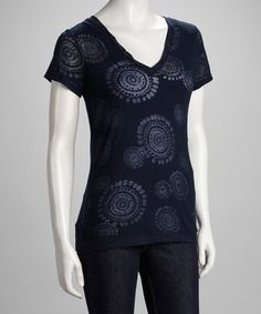 Take a look at this Navy V-Neck Burnout Tee by Hatley on #zulily today!