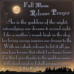 Full Moon, luna, release, spell, prayer, blessing, book of shadows, goddess, cleanse, renewal, magick, witch, spiritual, wicca, sage, purple, night, sky, breathe, witchcraft, occult, metaphysical, planetary, cosmos, white witch parlour https://www.facebook.com/TheWhiteWitchParlour