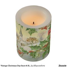 Vintage Christmas Day Snow & Holly Flameless Candle