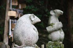 Komanezumi - Guardian Mice. Craved Stone Statues. Otoyo Shrine. Kyoto, Japan.