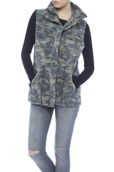 """Velvet's """"Blair"""" knit vest in camouflage print features a folded collar and snap front with hidden zip. Sleeveless; full shoulder coverage. Flap pockets at chest. Angled flap pockets at hip. Slim silhouette. Drawstring cinches the natural waist. Straight hem. Drawstring ties at back. Back center vent.   Blair Camo Vest by Velvet. Clothing - Jackets, Coats & Blazers - Vests New Hampshire"""