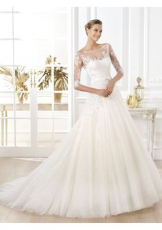 Wedding dress online shop - Tulle Strapless Bateau Neckline with Lace Bodice A-line Wedding Gown PS0043