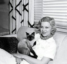 """GLENDA FARRELL was first person to ever fit her pet cat w/eyeglasses. The cat was """"Frankie"""". She felt so sorry for him as he was continually bumping into furniture, that she scoured Hollywood until she found optician who obliged her. Siamese Cats, Cats And Kittens, Glenda Farrell, Cat People, Pet Names, Classic Films, Beautiful Cats, Classic Hollywood, Famous People"""