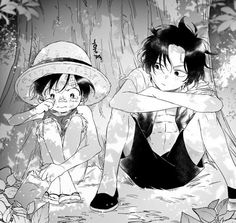 One Piece Luffy and Ace children One Piece Ace, One Piece Manga, One Piece Funny, One Piece Drawing, One Piece Comic, One Piece Ship, One Piece Fanart, Couples Anime, Anime Siblings