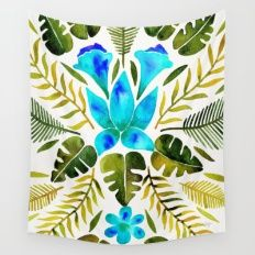 Tropical Symmetry – Turquoise & Olive Palette Wall Tapestry
