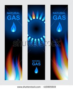 Set of three banners natural gas. Blue gas flame.