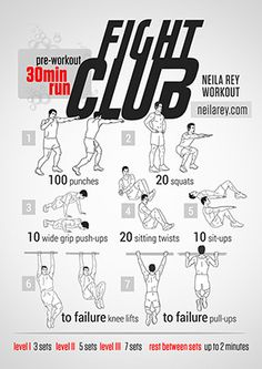 Fight Club Workout / What it works: quads, hamstrings, biceps, triceps, abs and… Boxe Fitness, Fitness Gym, Health Fitness, Hero Workouts, Gym Workouts, At Home Workouts, Fight Club Workout, Bodybuilder, Neila Rey Workout