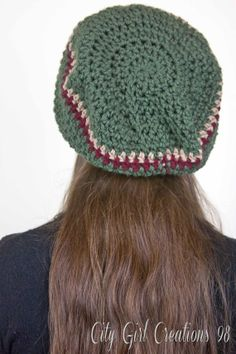 Green with stripe Slouch Hat