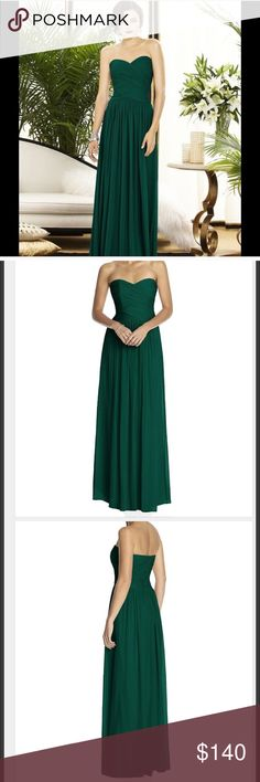 Dark green bridesmaid dress Dessy brand hunter green bridesmaid dress. Style #2880. Lux chiffon material. Hemmed to fit me. I am 5'5 and wore with 2 inch heels. Dry cleaned and in excellent condition. Dessy Dresses