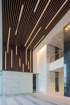 Nice Aesthetic False Ceiling Ideas Gracing Beautiful Decor of Modern Office Desi.- Nice Aesthetic False Ceiling Ideas Gracing Beautiful Decor of Modern Office Designs – Modern office designs showing artistic false ceiling decoration Image 45 Wood Slat Ceiling, Wooden Ceilings, Ceiling Panels, Ceiling Decor, Wall Wood, Ceiling Beadboard, Baffle Ceiling, Porch Ceiling, Wood Walls