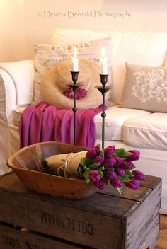 WHITE, CREAM, PURPLE AND FLORAL AND TAN RUSTIC OLDTIME LOOK IS CUTE FOR BATHROOM