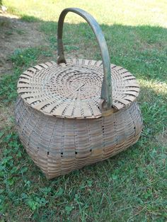 Antique Swing Handle Basket w/ Lid and Blue Handle Primitive Basket.     Sold  Ebay   140.00