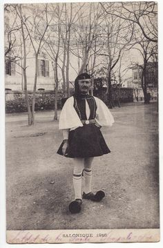 Old Postcard; Man in National Greek Costume. History Of Photography, Vintage Photography, Greek Traditional Dress, Royal Guard, Thessaloniki, Athens Greece, People Of The World, Old Postcards, Black And White Pictures