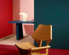 Grete Jalk chair, Biagio lamp, color saturated walls