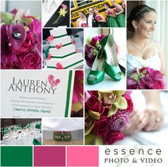 These colors are fun, bright and and could be used in design differently to be more complimentary of each other. Hot on trend: Ideas for Wedding Color Schemes: Emerald, Fuchsia, & Pink Hot Pink Weddings, May Weddings, Wedding Themes, Wedding Designs, Wedding Ideas, Free Wedding, Our Wedding, Emerald Wedding Colors, Bridesmaid Dress Colors