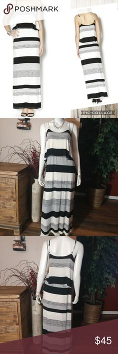 "Red Haute Spaghetti Strap Maxi Dress Black, white and gray stripe spaghetti strap maxi dress with top ruffle and adjustable straps. 86% rayon 6% polyester 8% spandex. Lining is 100% polyester. Chest measures 17 3/4. Length is 49"" measured from bottom of underarm. Size M Red Haute Dresses Maxi"