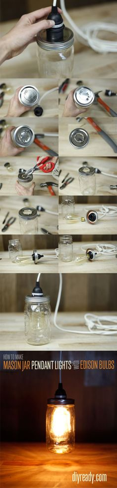 Lámpara con un tarro de vidrio DIY Mason Jar Crafts: How to make Edison Bulbs out of Mason Jars. Going to try this in my kitchen! Pot Mason Diy, Mason Jars, Mason Jar Crafts, Glass Jars, Mason Jar Pendant Light, Mason Jar Lighting, Pendant Lights, Diy Bedroom Decor, Diy Home Decor