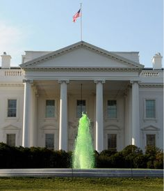 St Patrick's Day around the world in pictures. The fountain on the North Lawn of the White House is turned green for St Patrick's Day  Picture: EPA