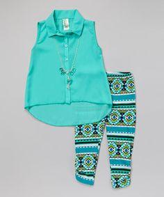 Mint Hi-Low Button-Up Tunic Set - Girls   zulily