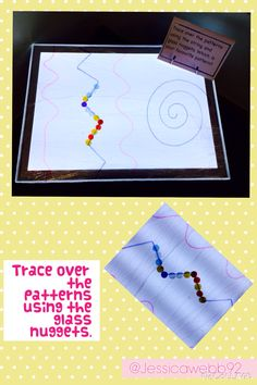 Trace over the patterns on the light table using glass nuggets and string.