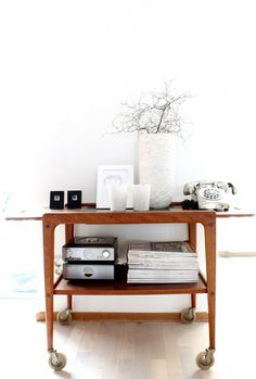 Bar cart as media console | My Scandinavian Home