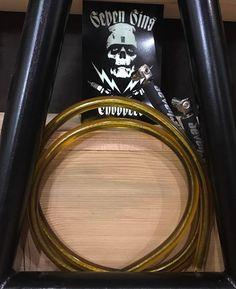 HONEY TS TRANSLUCENT PLUG WIRES w/ RODDER CLIPS #sevensinschoppers #galaxygrips #honey #bee #sap #amber #metalflake #harley #motorcycle #whiskey #USA #galaxyplugwire #copper #shovelhead #panhead #knucklehead #xs650 #triumph650