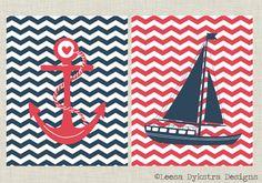 Chevron Nautical Sailboat and Anchor Set of 2 Wall Art Printable 8x10. $8.00, via Etsy.