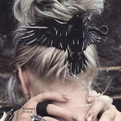 Coolest hair clip-bird-nails-rings-boho-indie