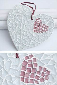 Mosaic heart // Wall Hanging // Wedding gift // by TheSeaDreamers