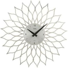 AMS Uhrenfabrik This wall clock shows the time reliably and is an eyecatcher in any room due to its blossom design. Glitter Mirror, Mirror Wall Clock, London Clock, Wall Clock Online, Crystal Wall, Aluminium, Decoration, Wands, Oversized Mirror