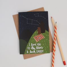 New to HannahStevensShop on Etsy: Ursa Minor Fathers Day Card I Love You to the Stars and Back Daddy Cards for Him Cards for Dad Bear Illustration Constellation Card (2.50 GBP)