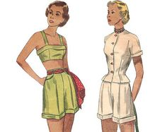 1940s Juniors Playsuit and Beachwear - Simplicity 2825 Vintage Pattern - Bust 31 Size 13