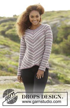 Gebreide DROPS trui met veelkleurig patroon, wordt onder een hoek gebreid van boven naar beneden van Alpaca. Maat: S - XXXL. Gratis patronen van DROPS Design.