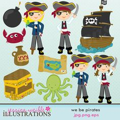 We Be Pirates Cute Digital Clipart for Card Design, Scrapbooking, and Web Design
