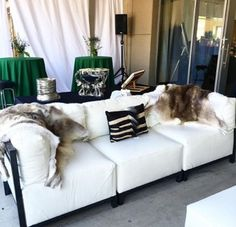 Loving our axis lounge furniture dressed with these soft fur throws / www.mmspecialevents.com / M&M Event Rental Dallas / M&M Event Rental Chicago / #mmspecialevents