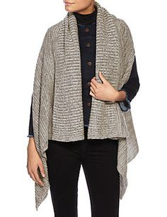 Open Front Ribbed Knitted Wrap