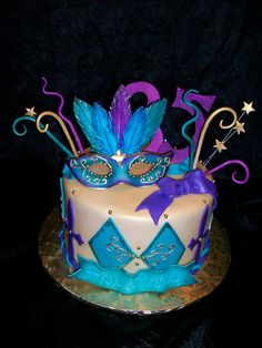 Mardi Gras birthday cake by sandrascakes (trying to catch up!), via Flickr