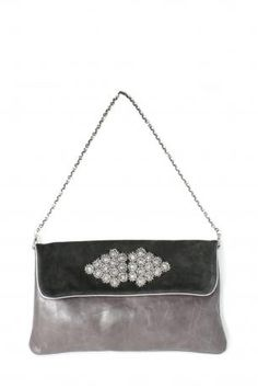 Pignarea bag - Berlino. Grey leather and black suede shoulder bag / clutch bag with jewelry on the front, removable chain, magnetic closure, fully lined in emerald green, a little opened pocket iside. Pignarea Fall Winter Collection 2013-2014.  Height: 21,5 cm; width: 36 cm. Chain lenght approx: 73 cm.