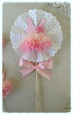 Shabby Chic Decorative Wand Ballet Party Cake Topper by JeanKnee