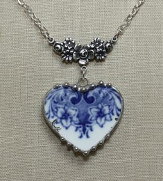 Broken China Jewelry Double Blue Lillies Embellished Heart Necklace