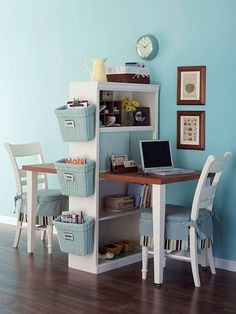 "A bookshelf and table can be reconfigured into a double-sided work space with some DIY ingenuity. Saw the table in half and attach the table to the bookcase using L-brackets. The back of the bookshelf can be covered in cork-board, chalkboard paint, or pegboard to create a usable ""wall"". Hang baskets on the side of the bookcase for storage."