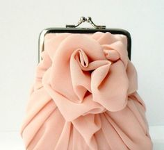 perfect pink rose bag for pink rose formal! Fashion Bags, Fashion Accessories, Diy Fashion, Indian Makeup And Beauty Blog, Chiffon, Wedding Purse, Unique Purses, Just Peachy, Perfect Pink