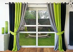 RING TOP FULLY LINED PAIR EYELET READY MADE CURTAINS BLACK LIME ...