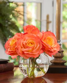 Tropical Faux Rose Nosegay Arrangements | Fake Roses in a Glass Bubble Vase