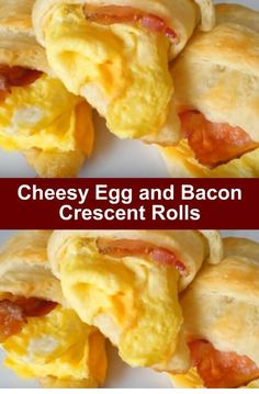 Cheesy Egg and Bacon Crescent Rolls. Compete breakfast recipe rolled into one an. - Cheesy Egg and Bacon Crescent Rolls. Compete breakfast recipe rolled into one and serves Make - Breakfast And Brunch, Breakfast Sausage Links, Breakfast Appetizers, Breakfast Dishes, Breakfast Dessert, Bacon Breakfast, Brunch Menu, Easy Breakfast Ideas, Breakfast Enchiladas